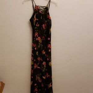 Hommage Maxi dress black floral with bird s